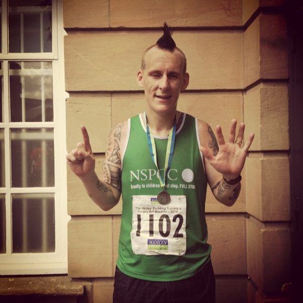 Richard Hayes sporting his NSPCC vest as part of his 13inthirteen charity challenge