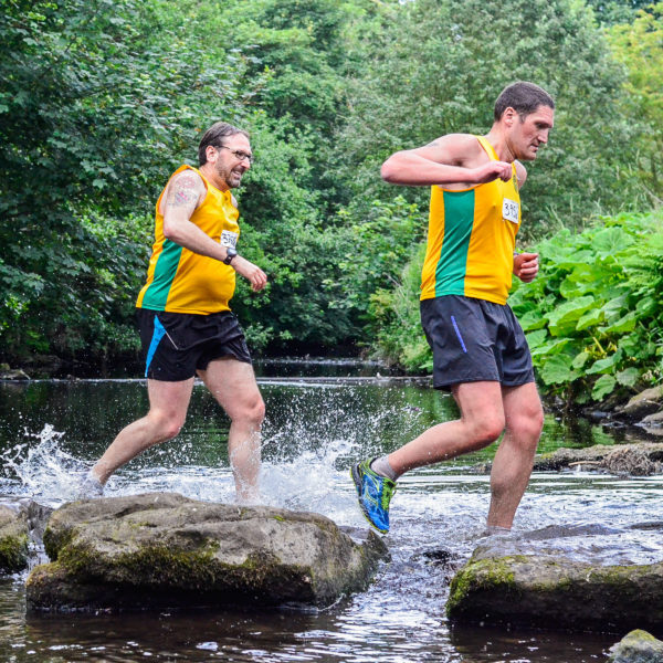 Roger Watson in hot pursuit of Richard Clamp at the first river crossing