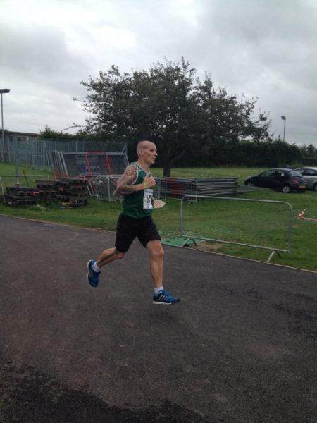 Richard Hayes flying in the Great Yarmouth Half Marathon