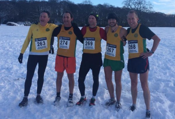The striders team from the XC, who came 3rd  Trevor Burton, Paul Stuart, Simon Bennett David Palmer and Andy Buck.