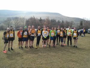 Group photo of Steel City Striders before start of the Wolf's Pit fell race.