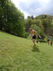 Steel City Strider running up hill in the Shropshire countryside.