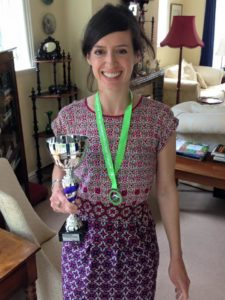 Emily Hunt with her Shrewsbury Half Marathon trophy