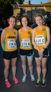 2nd placed ladies; Jennifer Rich, Hannah Helmore and Kate Wilkinson