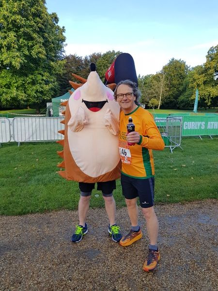 Kevin Haighton and someone dressed as a hedgehog