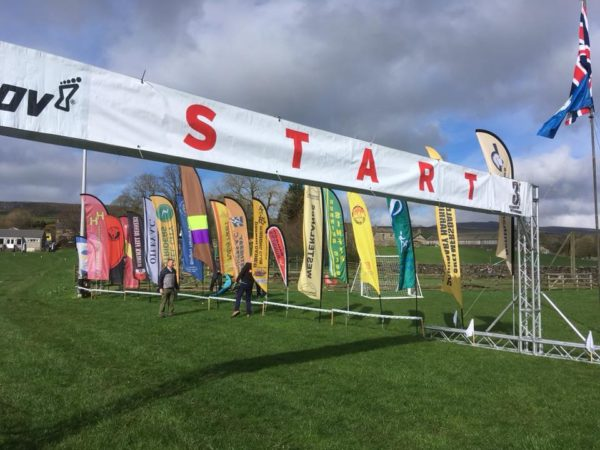 Striders' flag flying proudly st the start line